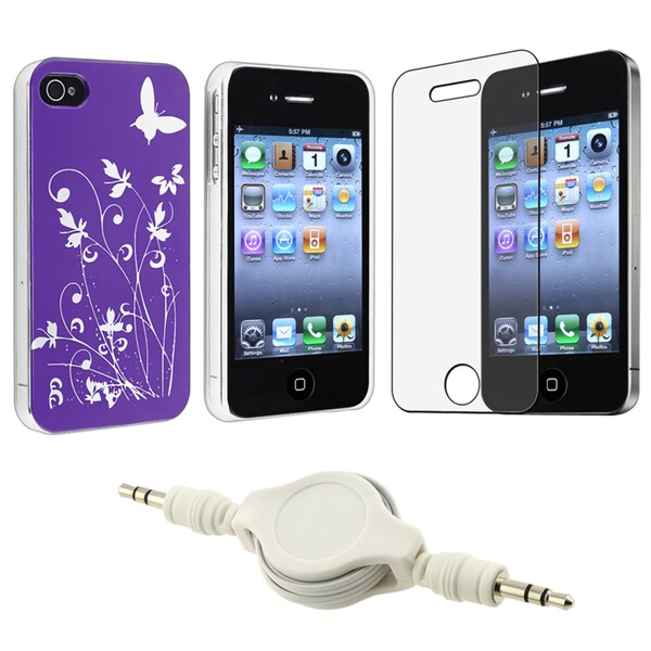 Purple Flower Butterfly Case/ LCD Protector/ Cable for Apple iPhone 4S