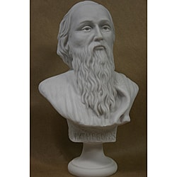 10.5-inch White Bonded Marble-cast High-detail Bust of Pythagoras