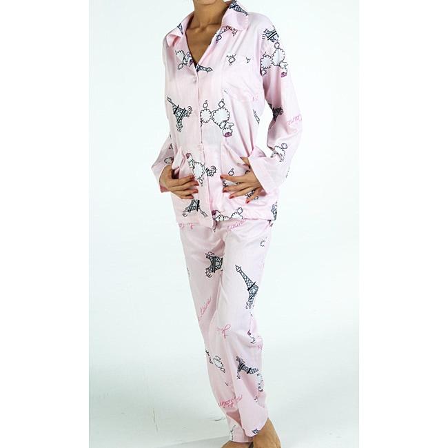 Aegean Apparel Women's Plus Size 'Fifi in Paris' Pajama Set