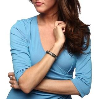 Sunstone Two-tone Sterling Silver Woven Design Cuff Bracelet