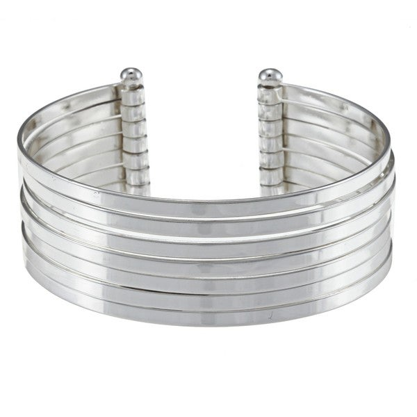 Sunstone Sterling Silver Multi-row Highly Polished Cuff Bracelet