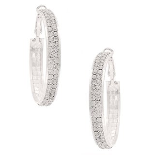 Roman High-Polish Silvertone Clear Crystal Hoop Earrings