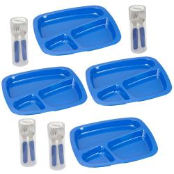 Blue Easy-grip Flatware and Tray Dinner Set
