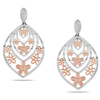 M by Miadora Rosetone Stainless Steel Leaf and Flower Design Earrings