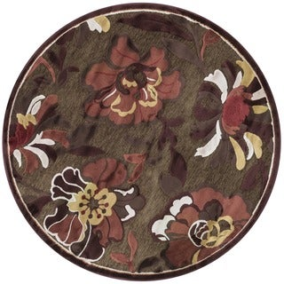 Madison Dark Brown/ Rust Round Rug (3'10 x 3'10)