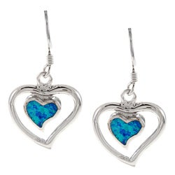 La Preciosa Sterling Silver Created Blue Opal Heart Earrings