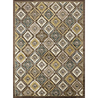 Madison Light Brown/ Teal Rug (9'2 x 12'7)