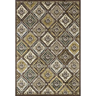 Madison Light Brown/ Teal Rug (7'7 x 10'6)
