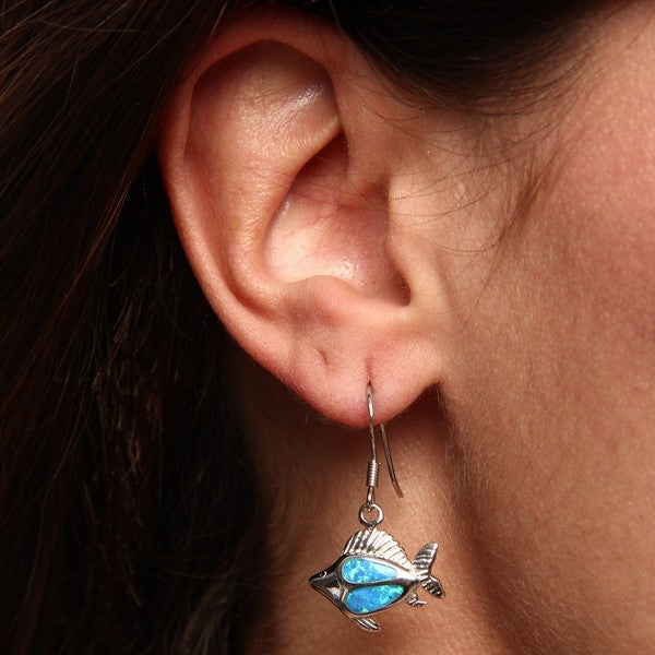La Preciosa Sterling Silver Created Blue Opal Flat Fish Earrings