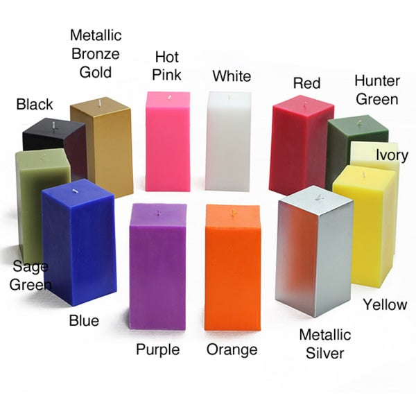 3x6-inch Square Pillar Candles (Pack of 12)