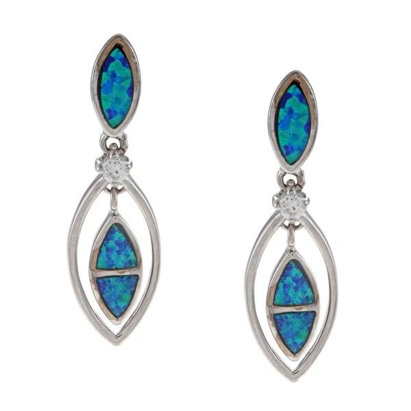 La Preciosa Silver Created Blue Opal and CZ Marquise Shape Earrings