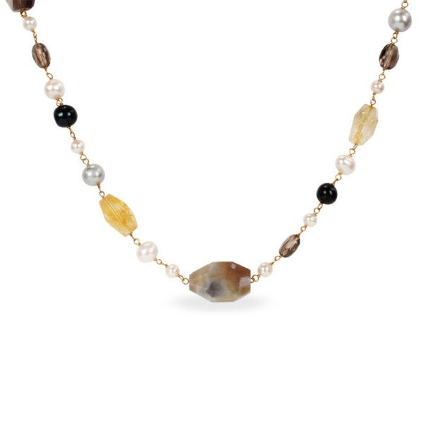 M by Miadora Sterling Silver Multi-colored Pearl and Gemstone Necklace (6-10 mm)