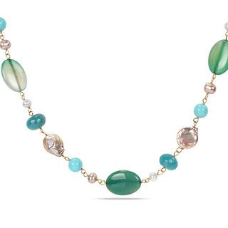 Miadora Sterling Silver FW Pearl and Multi-gemstone 24-inch Necklace (6-15 mm)