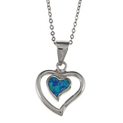 La Preciosa Sterling Silver Created Opal Heart Necklace