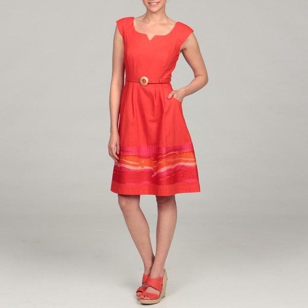 Chetta B Women's Orange Embroidered Hem Belted Dress