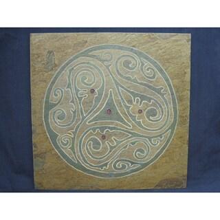 Karmic Stone 'Free Spirit' Hand-carved Stone Circular Geometric Patterned Symbolic Artisan Tile