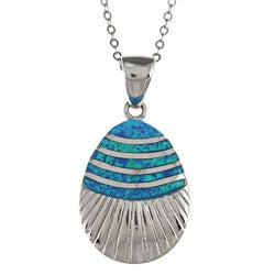 La Preciosa Sterling Silver Created Opal Striped Seashell Necklace