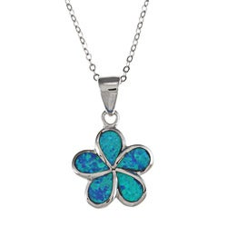 La Preciosa Sterling Silver Created Opal Flower Necklace