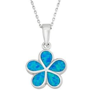 La Preciosa Sterling Silver Created Opal Flower Necklace