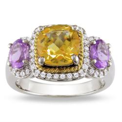 Miadora 10k Gold/ Silver Citrine, Amethyst and 1/4ct TDW Diamond Ring (G-H, I3)