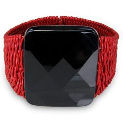 Miadora Red Leather Wire 195ct TGW Black Onyx 7-inch Bracelet