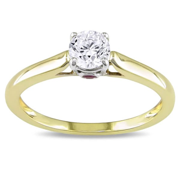 L'Amour Enrose by Miadora 10k Gold 1/2ct TDW Diamond and Pink Sapphire Solitaire Engagement Ring (G-