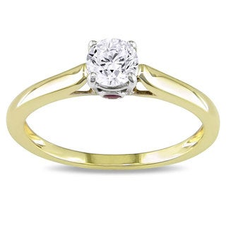 L'Amour Enrose by Miadora 10k Gold 1/2ct TDW Diamond and Pink Sapphire Solitaire Engagement Ring (G-H, I2-I3)