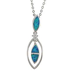 La Preciosa Sterling Silver Created Blue Opal and CZ Necklace