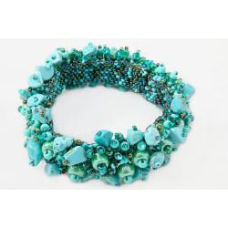Turquoise-Chip and Glass-Bead Capullo Bracelet (Guatemala)