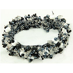 Onyx and Crystal 'Salt and Pepper' Capullo Bracelet (Guatemala)