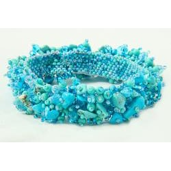 Turquoise and Glass Bead Capullo Bracelet (Guatemala)