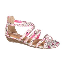 Refresh by Beston Women's 'Tokyo-02' Fuchsia Floral Braided Sandals