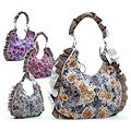 Dasein Floral Print Ruffled Hobo Bag