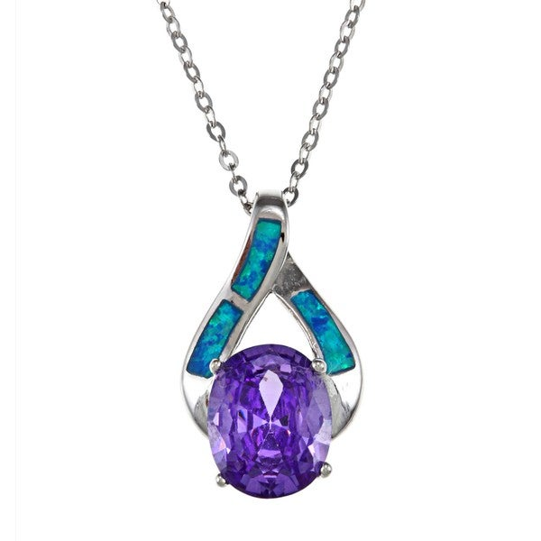 La Preciosa Sterling Silver Purple CZ and Created Blue Opal Necklace