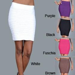 Tabeez Women's Stretch Texture Mini Skirt