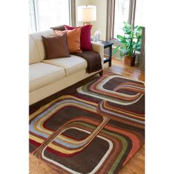 Hand-tufted Brown Contemporary Geometric Square Kanna Wool Rug (7'6 x 9'6)