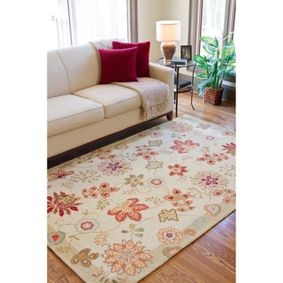 Hand-hooked Cream Persian Wool Rug (6' Round)