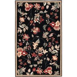 Hand-hooked Black Awadi Wool Rug (9' x 12')