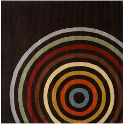 Hand-tufted Black Contemporary Multi Colored Circles Oromo Wool Geometric Rug (9'9 Square)