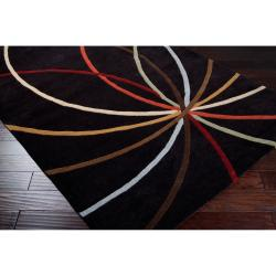 Hand-tufted Black Contemporary Kursi Wool Abstract Rug (7'6 x 9'6)