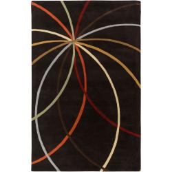 Hand-tufted Black Contemporary Kursi Wool Abstract Rug (9' x 12')