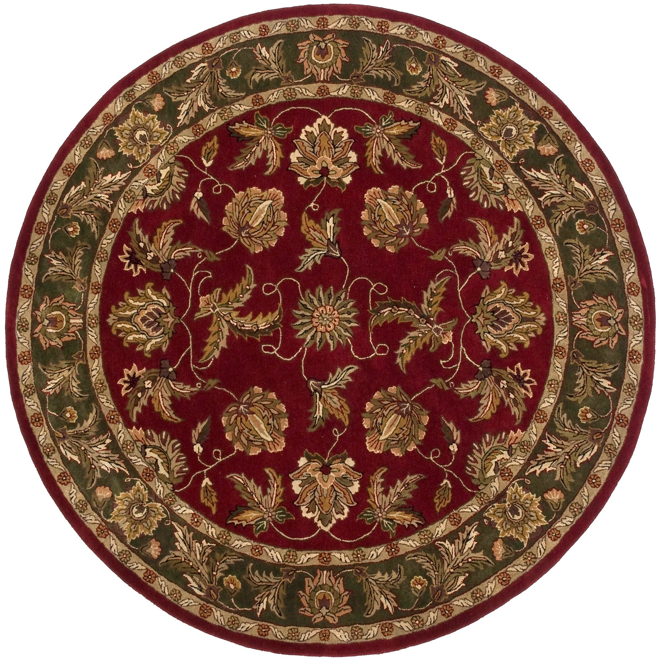Hand-tufted Burgundy Adelie Semi-Worsted New Zealand Wool Rug (8' Round)