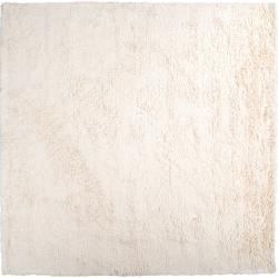 Hand-woven Ivory Brazzas Plush Shag Zealand Wool Rug (8' Square)