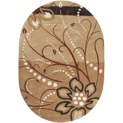 Hand-tufted Beige Capuchin Floral Wool Rug (6' x 9' Oval)