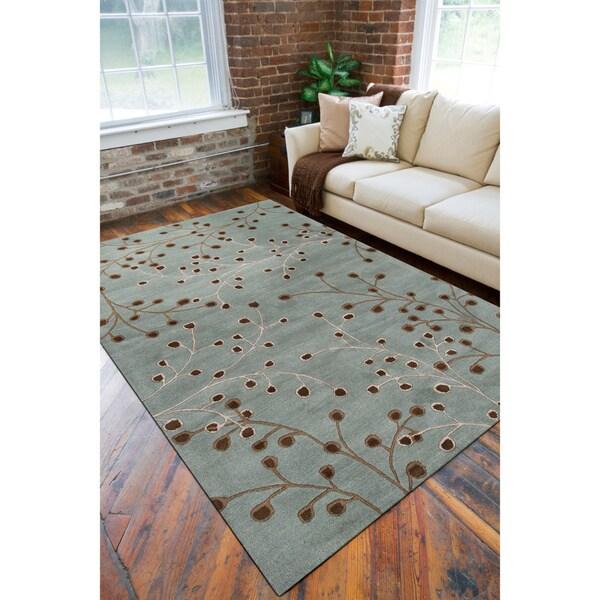 Hand-tufted Aqua Elmina Wool Rug (5' x 8')
