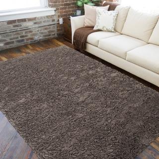 Hand-woven Gray Tajbeg Wool Shag Rug (5' x 8')