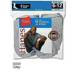 Hanes Men's Active Crew Grey Socks (Pack of 6)