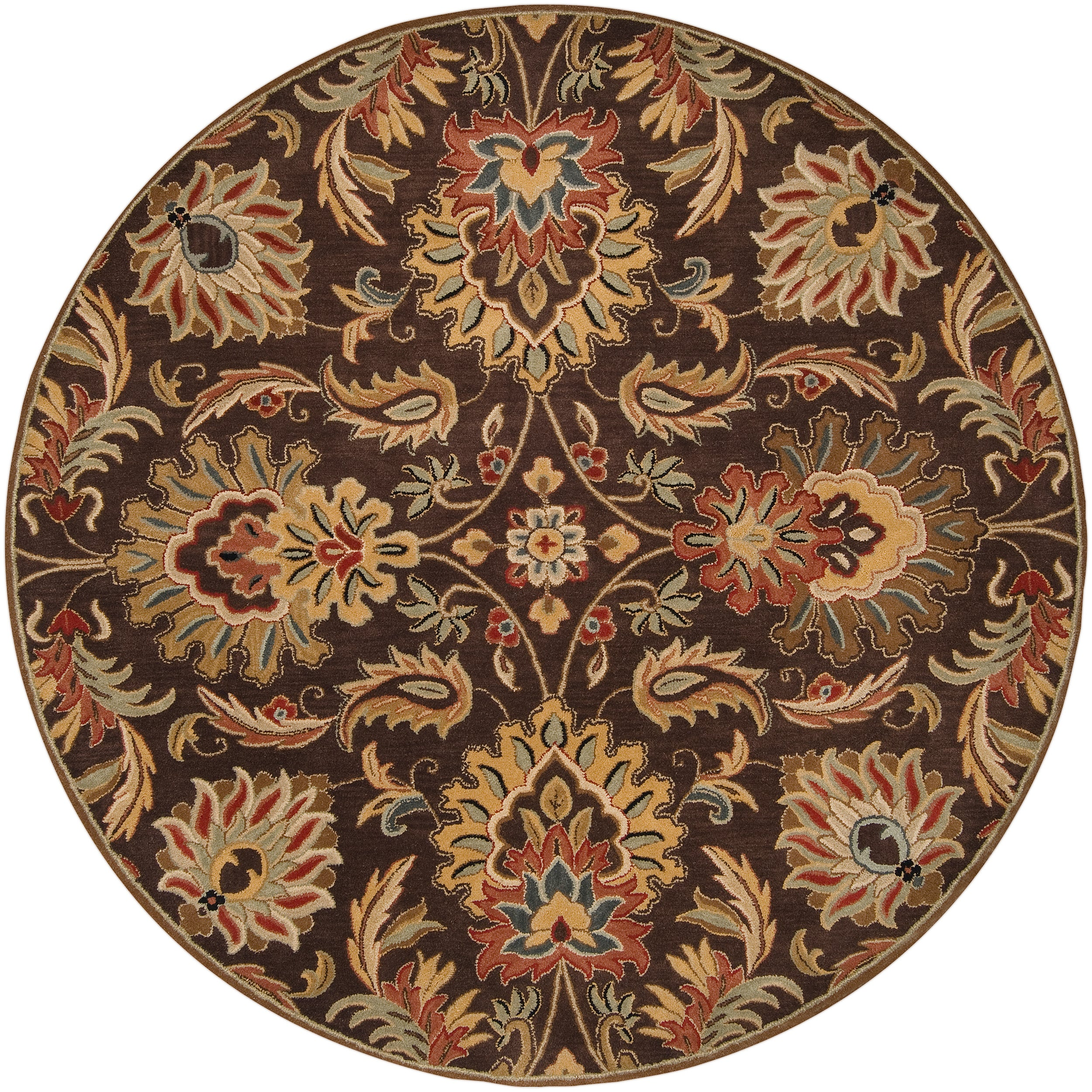Hand Tufted Agra Red Gold Wool Rug 8 Round: Hand-tufted Natore Chocolate Brown Floral Wool Rug (9'9