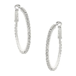Women's Roman Silvertone Clear Crystal Hoop Earrings