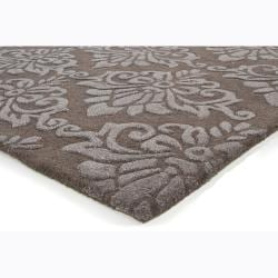 Hand-tufted Mandara Floral Brown Wool Rug (7'9 x 10'6)